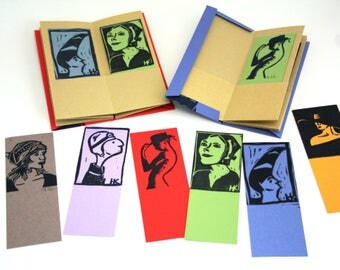 Artist Book, Hand Printed Bookmark Booklet - Women With Hat - Book Art, Artist Trading Card, ATC