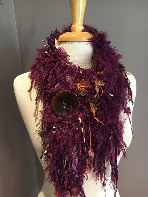 Handmade Knit Fringe Scarf with Button, Faux fur scarves, 'Royal Crown', handmade purple brown rust scarf, purple fashion, women scarf