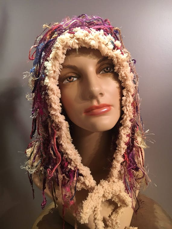 New! Knit fringed hood, pink shades Shaggy hood, headwrap, hat with fringe, Bohemian, hood with ties, head wear, pink purple cream, funky