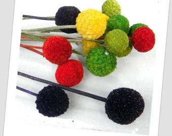 Save25% 12 dyed Craspedia Long stems-Your color choice-DRIED Billy Balls-Orange-purple-Green Wedding Flowers