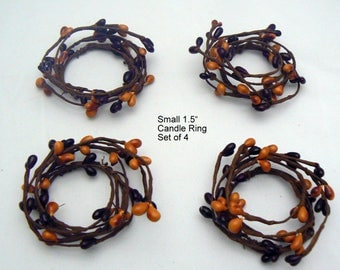 Pip Berry Candle Rings Set of 4 Burandy Mustard Primitive Country Chic Home Decor
