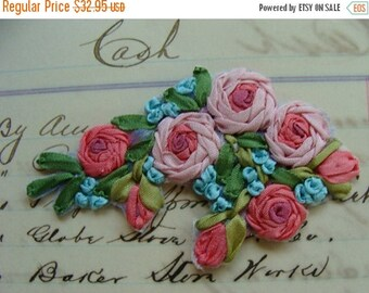 ONSALE Beautiful Intoxicating Vintage Silk Ribbon Embroidery Luxurious Applique Mint Condition