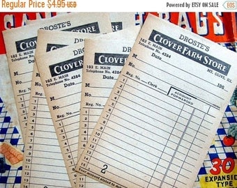 ONSALE Very Vintage Antique Clover Farm Receipts