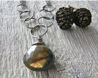 Summer Sale 20% Off Chunky Labradorite Pendant with Large Link Sterling Silver Chain, Statement Silver and Stone Necklace