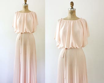 70s maxi dress / pleated skirt / Peach Margaux dress