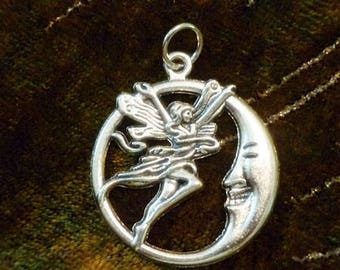 Fairy & the Crescent Moon Pendant-Silver Fairy and Moon Pendant