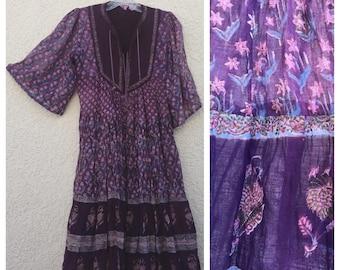VINTAGE 70s INDIA gauze dress