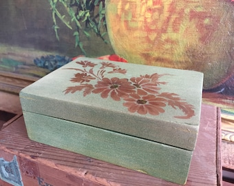 Small Green Box Gold Painted Flowers Vintage Distressed Wood Trinket Box Jewelry Storage Vanity Box