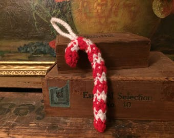 Knit Candy Cane Ornament Vintage Christmas Holiday Decor Handmade Crochet Red White