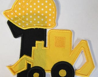 Construction Birthday Set - Iron On or Sew On Embroidered Custom Made Applique  - Ships in 3-7 Business Days