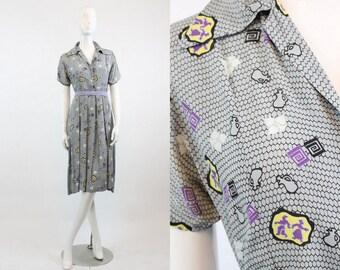 40s Dress Novelty Print Small Medium / 1940 Vintage Dress / Asian Figurine and Jugs Dress