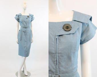 40s Dress Eisenberg Original Small / 1940s Vintage Button Dress Sailor Collar / The Fairbanks Frock