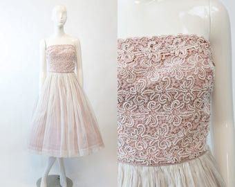 1950s Vintage Beaded Dress Carlye XS  / 50s Dress Silk Organza / Blush Rose Dress and Wrap