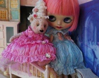 "OOAK Artist Bear 8"" Art Doll- VICTORIA - Marie Antoinette Inspired Pink German Mohair Collectible Teddy Bear"