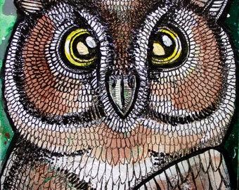 Original Owl Miniature Art by Lynnette Shelley