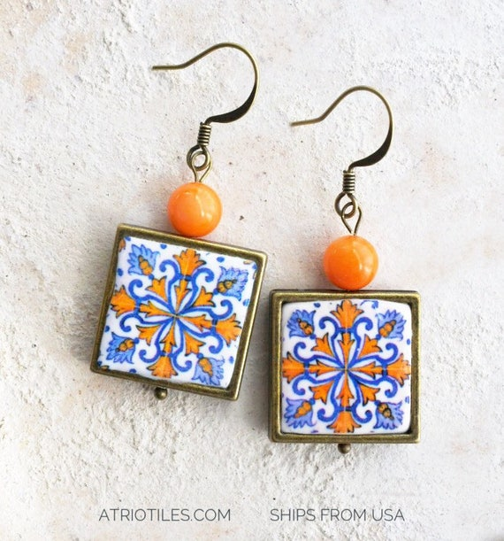 Portugal Tile Earrings Azulejos Blue Gold Chandelier Hotel Vila Gale Ericeira Portuguese Tile Talavera Ships from USA 1568