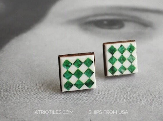 Stud Tile Earrings Portugal Post Green Azulejo Checkered National Palace of Sintra and Pena Palace - Stainless Steel Ships from USA 1308