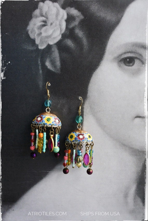 Bohemian Earrings Tiled Dome Persian Tile Portugal Antique Azulejos Almeirim Arab Turkish Fringe Bohochic Turquoise Beaded