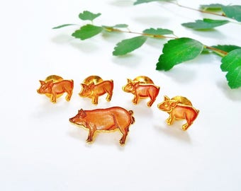Vintage Enamel Pig Brooch and 4 Piglet Tie Tack Pins, Wm Spear, Alaska 1980's