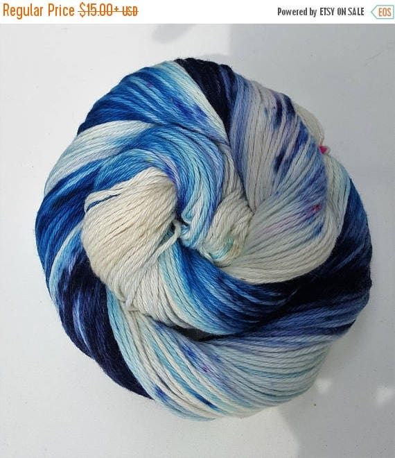 4th of July Sale Use The Good China- 100% Cotton, Hand Dyed, Variegated, Speckled, Hand Painted Yarn