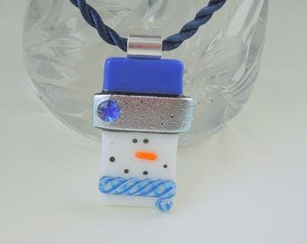 Dallas Cowboys - Snowman Jewerly - Christmas Ornament - Dichroic Fused Glass Pendant - Snowman Necklace - Christmas Jewelry X1827