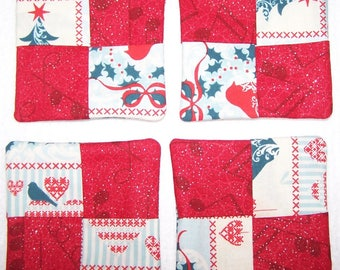 """Set of 4 Christmas Coasters - Approx 4"""""""