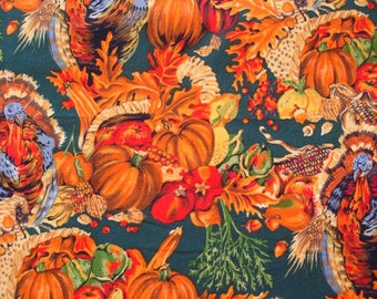 ALEXANDER HENRY FABRIC -  Autumn Bountiful Harvest Nicole de Leon 1992 - Remnant   1/2 Yard Plus Attached Fat Quarter m28