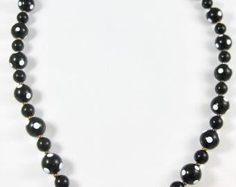 """Vintage Plastic Black & White 24"""" Necklace"""