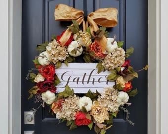 FALL WREATHS, Gather Signs, Fall Front Door Wreaths, Pumpkins Fall Decor, Hydrangea Wreath, AUTUMN Wreath, Fall Home Decor, Wreaths for Fall