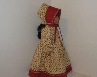 "Butter Yellow Flowered Prairie Dress with Bonnet, Fits 18"" Dolls // AG Doll Clothes, AG Doll Dress, American Girl Dress, Historical, Period"