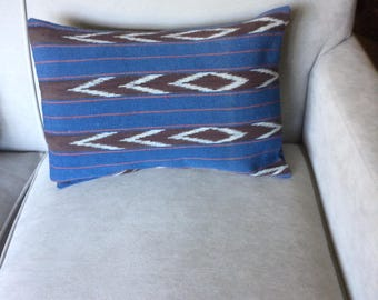 Native American Design Throw Pillow. Blue, Brown and Off White