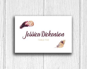 Bohemian Feathers Tented Personalized Wedding Place Cards, for Dinner Reception, Escort Cards