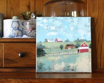 Farther Down The Road-10x10 Folk Art on Canvas