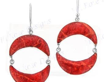 "1"" Crescent Red Sponge Coral 925 Sterling Silver Earrings"