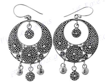 "1 5/8"" Bali Handmade Artisan 925 Sterling Silver Earrings"