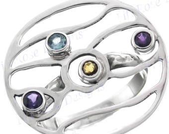 Design Amethyst Citrine Topaz 925 Sterling Silver Sz 6.5 Ring