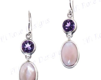 "1"" Pink Mother Of Pearl Shell Amethyst 925 Sterling Silver Earrings"