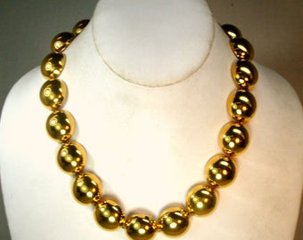 Gold Circles Necklace, 1980s GLAM Geometric Gold Hefty Domed Links, Shiny and Gorgeous, Adjustable Length