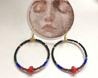 Dark Hoops With Red Czech Glass Bead