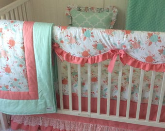 Baby Bedding Gold and Pink Coral Mint Floral and Lace Baby Girl Crib Set