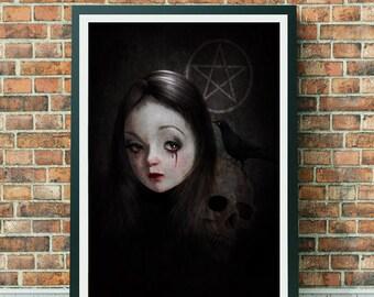 Goth Girl | Portrait Art | Gothic Art Print | Occult Art | Big Eyes Art | A3 Art Print | Occultist