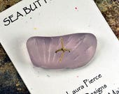 Super special chunky lavender ridged natural sea glass button from the coast of Maine for sweaters shawls handcraft