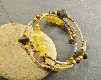 Bumblebee  an adjustable wrap bracelet made with super rounded genuine Maine sea stones  and  yellow opal beads