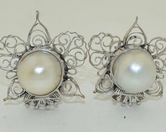 14K White Gold 13mm Pearl & Filigree Clip on Earrings
