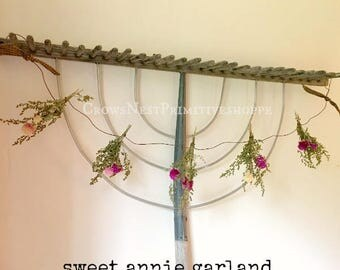 Handmade Natural Sweet Annie Garland~ herbal flower bunches tied into rusty wire garland~ Country Primitive Decor