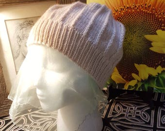 Hand Knit Ecru Color Hat