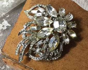 Stunning Clear Rhinestone Silver Tone Flower Brooch Pin Unsigned 1960's 1970's Rhinestone Encrusted Round Navette Baguettes Leaves Stems