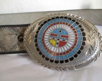 Vintage Hopi Sun Kachina SSI Buckle Turquoise Red White Native American Snake Skin Belt Small Western Southwestern