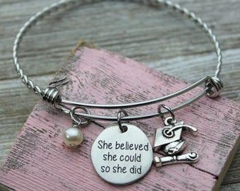 She believed she could so she did Charm Bangle Bracelet