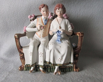 Antique c1910-20s Edwardian Bisque Figurine of a Young Couple